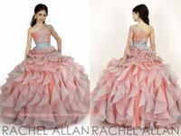Nuevos 2016 de las niñas del concurso de vestidos de princesa de un hombro de cristal joya Sheer rebordear rosa para niños muchachas de flor de los vestidos del vestido de cumpleaños