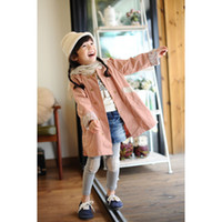 Cheap Hotsale Girl's Cotton Autumn Wind Coat 5pcs lot Children Cloth Flower Linning Tench Coats Jackets Overcoat Girl Pink 90-130cm K1035