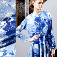 Wholesale Point Xitang digital inkjet ink blue and white porcelain of heavy stretch satin silk cloth fabric clothing cheongsam material