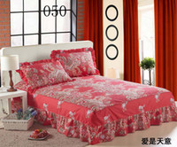 100% Cotton Printed Home Romantic Red Twin Full Queen King Size 100%Cotton Bed skirts Coverlet Bedclothes Bedspread Counterpane Bed Sheets Bedsheet Bedding