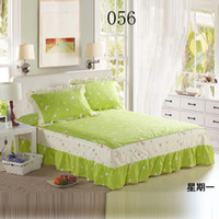 Cheap Green Bed skirts Twin Full Queen King Size 100%Cotton Bed skirts Bedclothes Bedspread Bed Sheets Bedding Green moon Stars