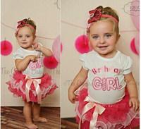 Girl Spring / Autumn  5sets lot 2014 New Summer Girls Children Birthday Dress 2PC Clothing Set Baby Girl White TShirt Tops & Girls Pink TUTU Bow Cake Skirt