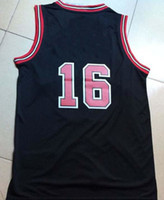 Wholesale Rev30 Basketball Jerseys Paul Gasol Black White and Red Embroidery Logo Mixed Order Top Quality