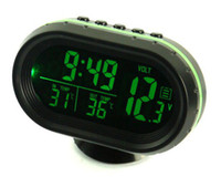 Wholesale High quality fashion mini double colors switchable car auto vehicle clock time indoor outdoor temperature thermometer voltage