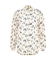 Regular Polyester Button A1-y244 European American style brand dudalina puppy design printed women blouse long sleeve casual chiffon shirt Freeshipping