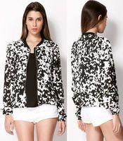 Men V-Neck Acetate A1-u24 Fashion European American style black and white cows jacket zipper warm women's clothing moleton coat Free shipping