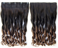 Wholesale color T10 ombre clip in hair extensions two tones curly synthetic hair extension cm inch g