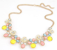 Cheap The Summer of 2014 the New metal joker Diamond resin branches and leaves Flowers short statement pendant Necklaces For Women