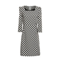 Casual Dresses Above Knee/ Mini Puff Sleeve A1-z43 2014 European style women clothing square collar puff sleeve back zipper dress vintage contrast color Plaid sheath dress