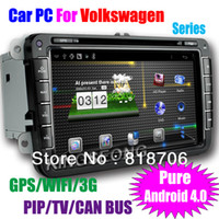 Wholesale Car PC for Volkswagen Passat Skoda Golf Capacitive multi touch screen Pure Android Car DVD Player With GPS G Wifi TV