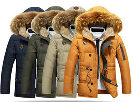 Wholesale Winter Men Duck Down Fur Collar Coat Outerwear Warm Hooded Parka Jacket