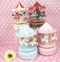 Wooden gift box ornament - 30pcs Carousel Trojan Music Box Birthday gift Arts and Crafts Cheap Christmas Gift Home Wooden ornaments