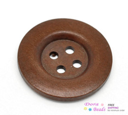 Wholesale 30PCs Reddish Brown Holes Wood Big Sewing Buttons for Sweater Overcoat Clothing mm quot B18934