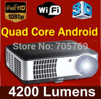 Wholesale Built in Quad Dual Core Android OS wifi D P Projector HDTV Home Cinema LED Projector support mp3 player