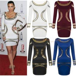 Wholesale 2014 New Women Fashion Dresses Long Sleeve Scoop Neck Empire Party Dresses Golden Piping Design Autumn OL Pencil Evening Dresses