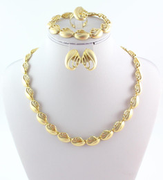 Gold Plated African Costume Jewelry Set Necklace Bracelet Earring Ring Fashion Jewelry For Women