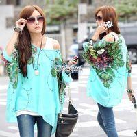 Women Regular Tops Summer Hot Sale Women's Oversized Blouse Batwing Dolman Sleeve Chiffon Shirt Bohemian Tops 6 Colors SV000978 b010