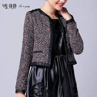 Wholesale 2014 autumn and winter fall fashion new casual all match tweed coat with lambskin short jacket high quality for work outdoor must have one