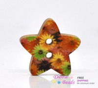 Quilt Accessories B12748 Wood 100 Star Shape 2 Holes Wood Sewing Buttons Scrapbooking (B12748)