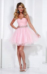 Wholesale Lovely Pink Mini Homecoming Dresses Beaded Waist Pleat Gorgeous A Line Sexy Prom Dress Sleeveless Short Tiered Cheap School Class