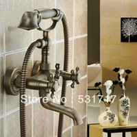 Wholesale High Quality bathtub bathroom wall mounted hole install antique brass mixer tap faucet with spout handle shower dd