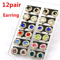 Cheap New Fashion Jewelry Women Vintage Rhinestone Earrings Mix Color Birthstone Earring The Best Birthday Present Best Gift H1721