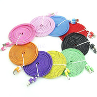 For Samsung   Noodle Braided Micro USB 2.0 Cable Sync Data Charging 1m 2m 3m Cord Flat Woven Fabric Dual Colors for Samsung Galaxy S3 S4 S5 HTC Blackberry