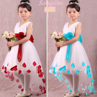 TuTu Summer A-Line 2014 Summer Baby Girl Child Kids Short Sleeve Party Princess Ball Gown Sashes Flower Blue Red Frozen Elsa Costume Dress H0140844