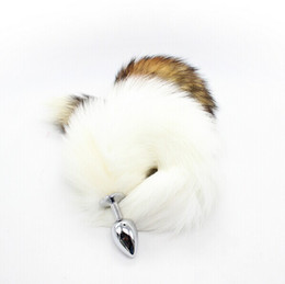 Wholesale New Sex Fox Tail Anal Butt Plug Fun Sex Game Toys For Women Adult Products Metal Anal Plug mm S White