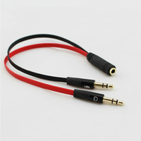 Wholesale Earphone jack and Microphone jack in Audio Adapter cable mm male to mm female noodle cable for PC Notebook laptops