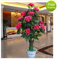 artificial potted christmas trees - 2014 New Artificial Rose Peony Silk Flower Tree Potted Plants For Christmas Ornament Home Office Living Room Decor Wedding Party Decoration