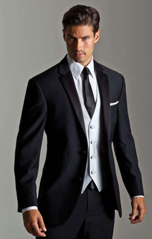 Top Selling New Black Jacket With White Satin Vest Lapel Groom