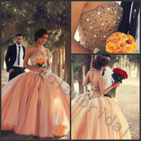 Wholesale Corset Organza Charming Crystal Bead Sequins Strapless Wedding Dresses Ball Gowns Long Bridal Dress Vintage Vestidos de novia