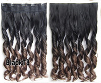 Wholesale fashion hair extension blackT8 ombre clip in hair extensions two tones curly synthetic hair extension cm inch g