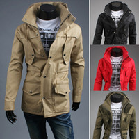 Wholesale Autumn season Men s Casual jackets fashion mens hooded Outerwear cardigan sweater High quality Cotton blended Clothing M L XL XXL size