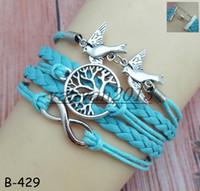 achat en gros de bracelet d'arbre à l'infini-NOUVEAU HOT bracelet en cuir fabriqué à la main bijoux multi-cordes combiné avec Infinity Life Tree Double Peace Bird mix