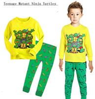 Wholesale FREE Toy Teenage Mutant Ninja Turtles pajamas Boys pajamas long sleeved T shirt pants suit Cartoon cotton pajamas