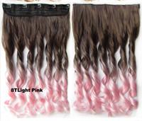 Dos hairpieces del tono sumergen 5 clips en los hairpieces sintéticos 130grams, 8TLight # 24inches del ombre de la extensión del pelo envío libre