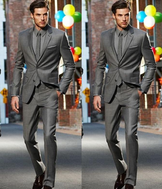 Dark Grey Slim Fit Side Slit Two Buttons Notch Lapel Groom Tuxedos ...