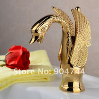 Basin Faucets Yes Greenspring Hot Freeshipping single lever bathroom faucet gold pvd swan basin mixer tap