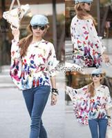 Women V-Neck Regular Summer&Spring Women's Oversized Blouse Batwing Dolman Sleeve Chiffon Shirt Bohemian Tops 6 Colors SV000978 b010