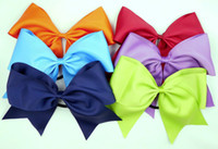 Wholesale 30pcs quot Large Cheer Bow With Elastic Band Cheerleading Hair Bow Cheer Bow Ponytail Hair Holder For Girls