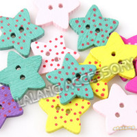 Quilt Accessories Buttons Beads 750pcs lot Stars Shape 2-Holes Eco-Friendly Assorted Color Wooden Craft Sewing Buttons Fit handcraft 15*15*3mm 161431