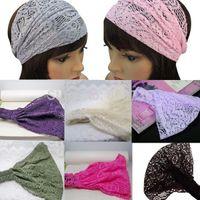 Wholesale 5X Mix New Fashion Chic Bandanas Lace Head Wraps Women Lady Girls Wide Headband Accessory Gift Free Ship