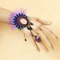 Jewelry Sets Fashion Trendy FREE SHIPPING! Handmade Multi Layer Flower Stone Beads Drop Black Lace Adjustable Ring Bracelet Set Lolita Goth Fashion Jewelry