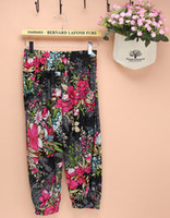 Women Cargo Pants Loose flowers legging 2014 fashion wide leg capri palazzo pants girls harem trousers women moleton feminino calca feminina pants