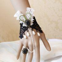 Jewelry Sets Fashion Trendy FREE SHIPPING Handmade Bunny Girl Rabbit Flower Black Lace Stone Adjustable Ring to Bracelet SET Lolita Party Fashion Jewellry