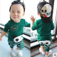 Girl Spring / Autumn Panda 2013 Hitz Korean panda baby child children clothing for men and women casual long-sleeved pants suit