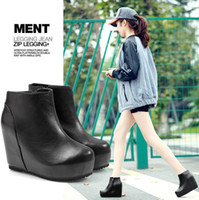 Wholesale 2013 Black Fashion Soft Leather Ankle Martin Boots Zip Wedges High Heels Platform Motorcycle Boots Female Casual Dress Shoes