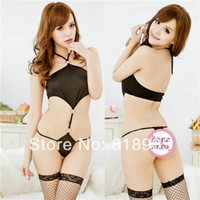 Yes Lace Acrylic,Rayon,Spandex 2014 Hot Sexy lingerie black one piece lingerie, sexy sleepwear,sexy uniform Dresse Sexy Lingerie Sex Dress YN0071